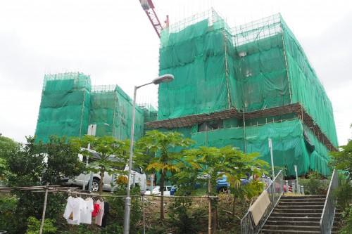 沙頭角新公屋「迎海樓」將於明年首季落成。(黃翠嘉攝)